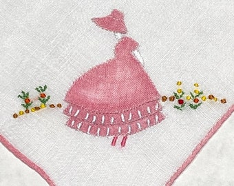 Vintage White Hanky with an Applique Colonial Lady in One  Corner Handkerchief Hankie