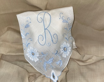 Lavender Sachet Made from a Vintage Blue Initial R Handkerchief Something Blue Bridal Wedding Bridesmaid Party Housewarming Gift