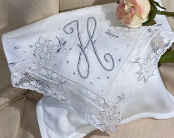 Vintage White Sachet Hanky With an Initial H - Handkerchief Hankie