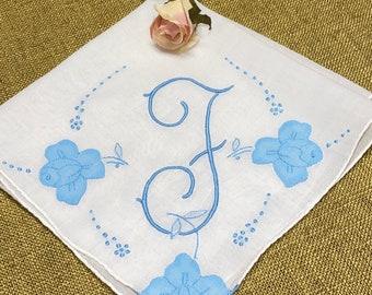 Vintage White Hanky with a Something Blue Initial F Monogram Bridal Wedding