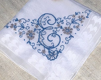 Vintage Hanky with a Something Blue Initial E Hankie Handkerchief With Hand Embroidery