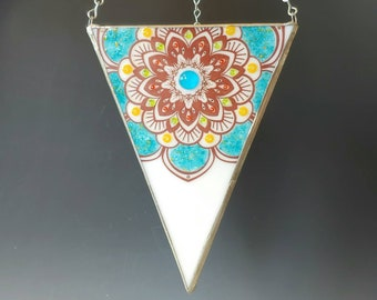 Teal Mandala Fused Glass Lantern Stained Glass Hanging Candle Holder Multicolor Triangle 22K Gold