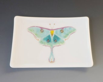 Luna Moth Fused Glass Dish Handcrafted Plate Trinket Insect Boxed Gift 22K mint Green Blue White
