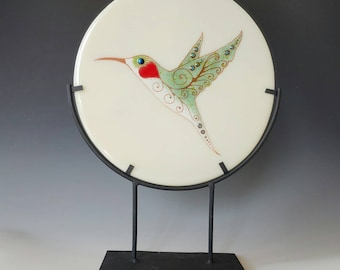 Hummingbird Fused Glass Panel Table Art Love Bird Heart 22K Gold