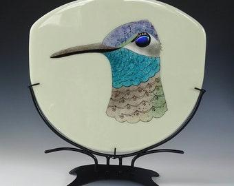Magnificent Hummingbird Rivoli's Fused Glass Panel Table Art Ivory Beige Blue Grey Aqua Teal Purple