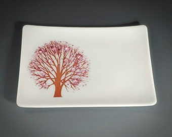 Cherry Blossom Tree Fused Glass Dish Handcrafted Plate Trinket White Pink Spring Flowers