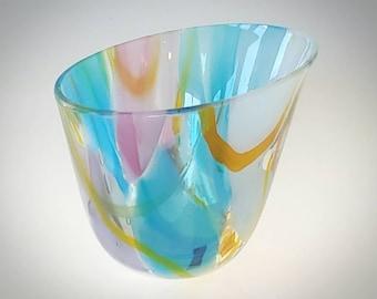 Fused Glass Vase Asymmetrical Pink Aqua Sky Blue Lime Green Orange Handcrafted Modern Vessel