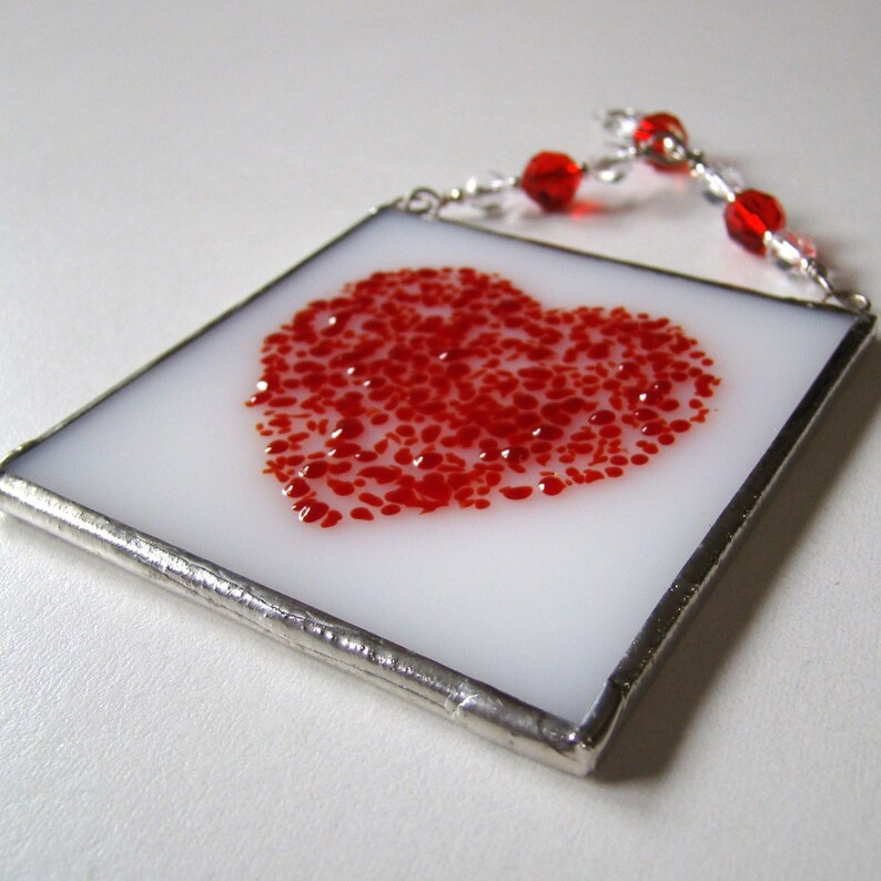 Red Speckled Heart Fused Glass Suncatcher Light Catcher
