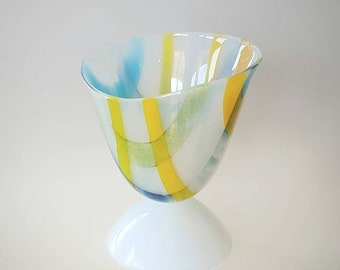 Fused Glass Vase Asymmetrical White Aqua Sky Blue Lime Green Yellow Orange Handcrafted Modern Vessel
