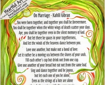 ON MARRIAGE Kahlil Gibran Full Inspirational Quote Wedding Anniversary Gift Home Relationship Meditation Heartful Art by Raphaella Vaisseau