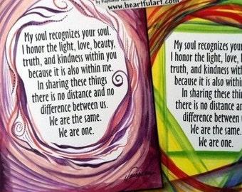 My Soul Recognizes Inspirational Quote NAMASTE YOGA Meditation Spiritual Valentine Wedding Engagement Heartful Art by Raphaella Vaisseau
