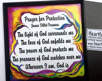 PRAYER FOR PROTECTION Magnet Inspirational Quote Motivational Spiritual Meditation Unity Saying Recovery Heartful Art by Raphaella Vaisseau