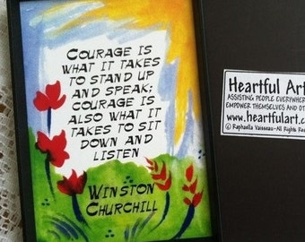 COURAGE is what it takes Winston CHURCHILL Inspirational Quote MAGNET Motivational Print Encouragement Heartful Art by Raphaella Vaisseau