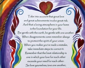 Take Into Account 8x11 DALAI LAMA INSTRUCTIONS Inspirational Rules Wedding Spiritual Valentine Yoga Heartful Art by Raphaella Vaisseau