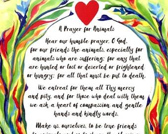 PRAYER for ANIMALS 8x11 Rescue Poster Albert SCHWEITZER Catholic Inspirational Motivational Meditation Heartful Art by Raphaella Vaisseau