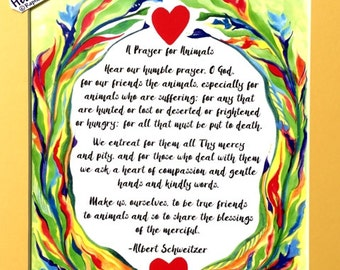 PRAYER for ANIMALS 11x14 Rescue Quote Albert SCHWEITZER Catholic Inspirational Motivational Meditation Heartful Art by Raphaella Vaisseau