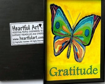 GRATITUDE Butterfly Inspirational Magnet Motivational Positive Affirmation Family Friend Recovery 12 Step Heartful Art by Raphaella Vaisseau