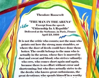 MAN In The ARENA Theodore Roosevelt Inspirational Quote Motivational Print Typography Poster Office Decor Heartful Art by Raphaella Vaisseau