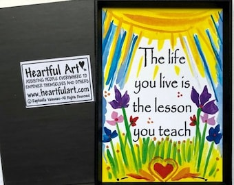 LIFE you LIVE is LESSON Magnet Inspirational Words Motivational Sayings Happy Kitchen Decor Typography Heartful Art by Raphaella Vaisseau