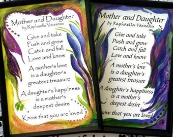 MOTHER DAUGHTER MAGNET Original Poem Quotation Inspirational Words Family Child Sayings Mom Birthday Gift Heartful Art by Raphaella Vaisseau