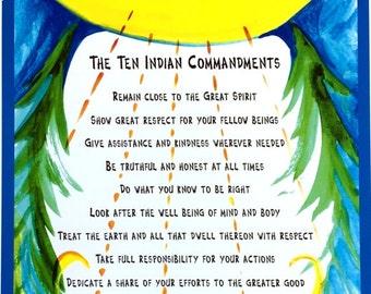 TEN INDIAN COMMANDMENTS 8x11 Native American Wisdom Inspirational Quote Motivational Typography Poster Heartful Art by Raphaella Vaisseau