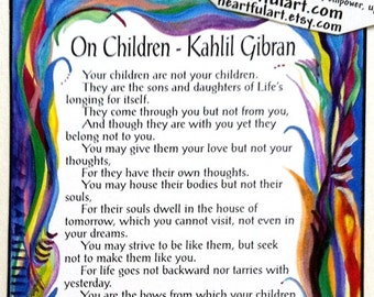 ON CHILDREN 5x7 Kahlil Gibran Poster Baby Shower Nursery Decor Child Parenting Inspirational Gift Print Heartful Art by Raphaella Vaisseau