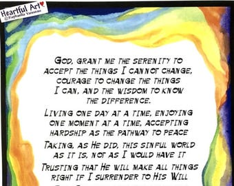 God Grant Me 11x14 REINHOLD NIEBUHR Long Serenity Prayer Inspiration Full Motivation AA Recovery Sobriety Heartful Art by Raphaella Vaisseau