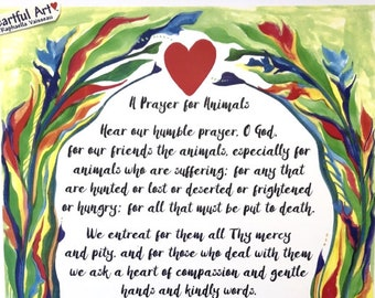 PRAYER for ANIMALS 11x14 Rescue Poster Albert SCHWEITZER Catholic Inspirational Motivational Meditation Heartful Art by Raphaella Vaisseau