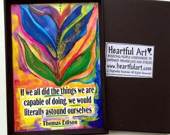 If We All Did 2x3 THOMAS EDISON Magnet Inspirational Kitchen Motivation Graduation Success Encouragement Heartful Art by Raphaella Vaisseau