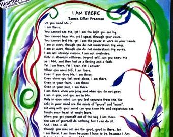 I Am There 11x14 James Dillet Freeman Inspirational Unity Poster Motivational Print Spiritual Meditation Heartful Art by Raphaella Vaisseau