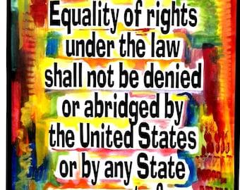 EQUAL RIGHTS Amendment 11x14 ERA Feminist Decor Typography Poster Alice Paul Motivational Women Business Heartful Art by Raphaella Vaisseau