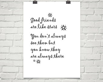 Good Friends Are Like Stars Inspirational Quote Friendship Etsy