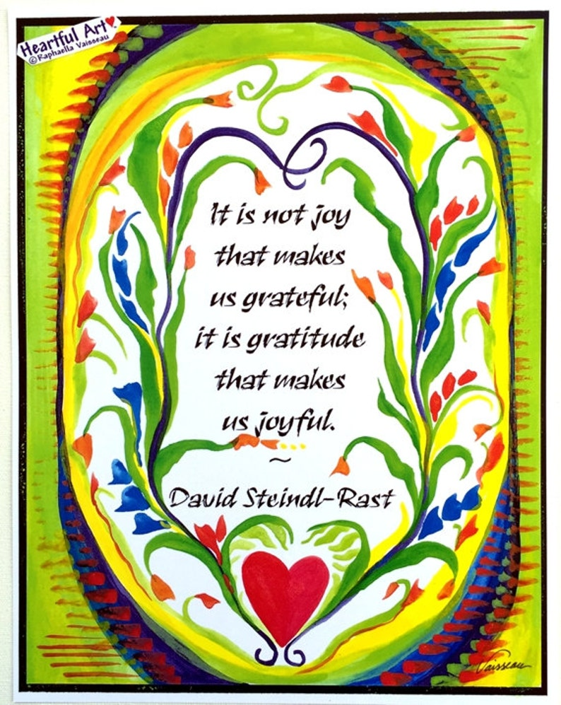 It Is Not Joy David Steindl Rast Quote Inspirational Gratitude Etsy