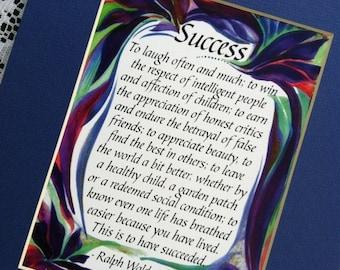 EMERSON SUCCESS 8x10 Inspirational Quote Motivational Print Parents Retirement Gift New Home Decor Saying Heartful Art by Raphaella Vaisseau
