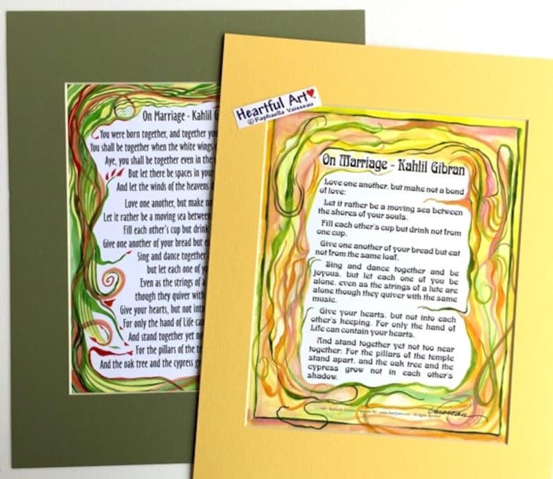 Sur Mariage 11 X 14 Khalil Gibran Cadeau Danniversaire De Mariage Citation Maison Relation Méditation Heartful Art Par Raphaella Vaisseau
