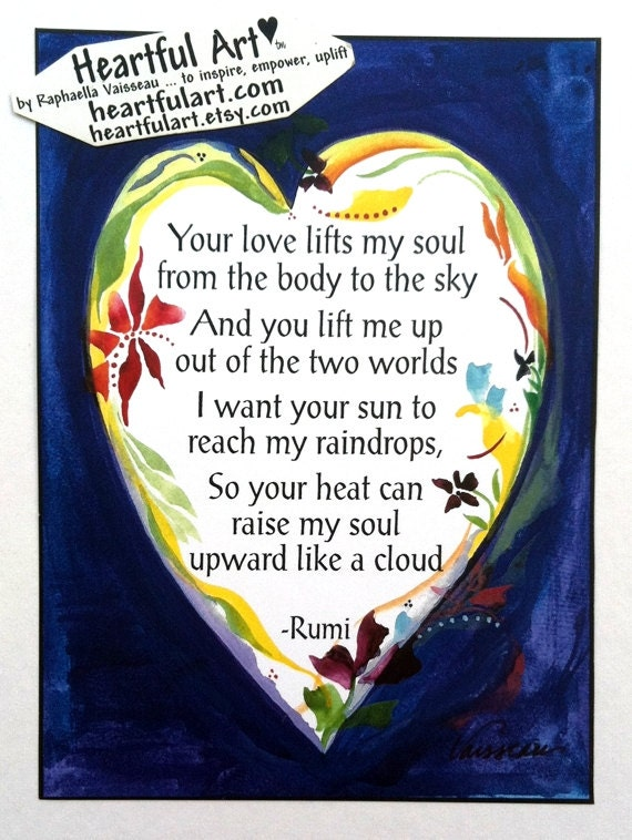 Twoja Miłość Podnosi Moją Duszę Rumi Inspirujące Cytat Joga Medytacja Motywacyjny Print Zen Duchowej Poezji Sztuki Raphaella Vaisseau