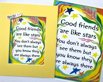 GOOD FRIENDS Are Like Stars Inspirational Quote Poster Positive Saying Girlfriend Gift Kitchen Decor Heartful Art by Raphaella Vaisseau