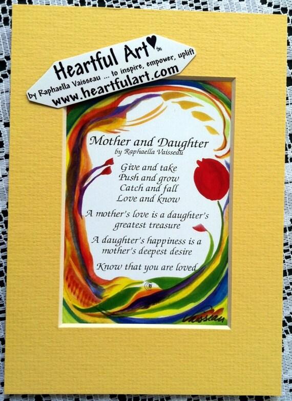 Mutter Und Tochter 5 X 7 Original Gedicht Inspirierend Zitat Familie Druck Mama Mutter Tag Mädchen Baby Dusche Herzliche Kunst Von Raphaella Vaisseau
