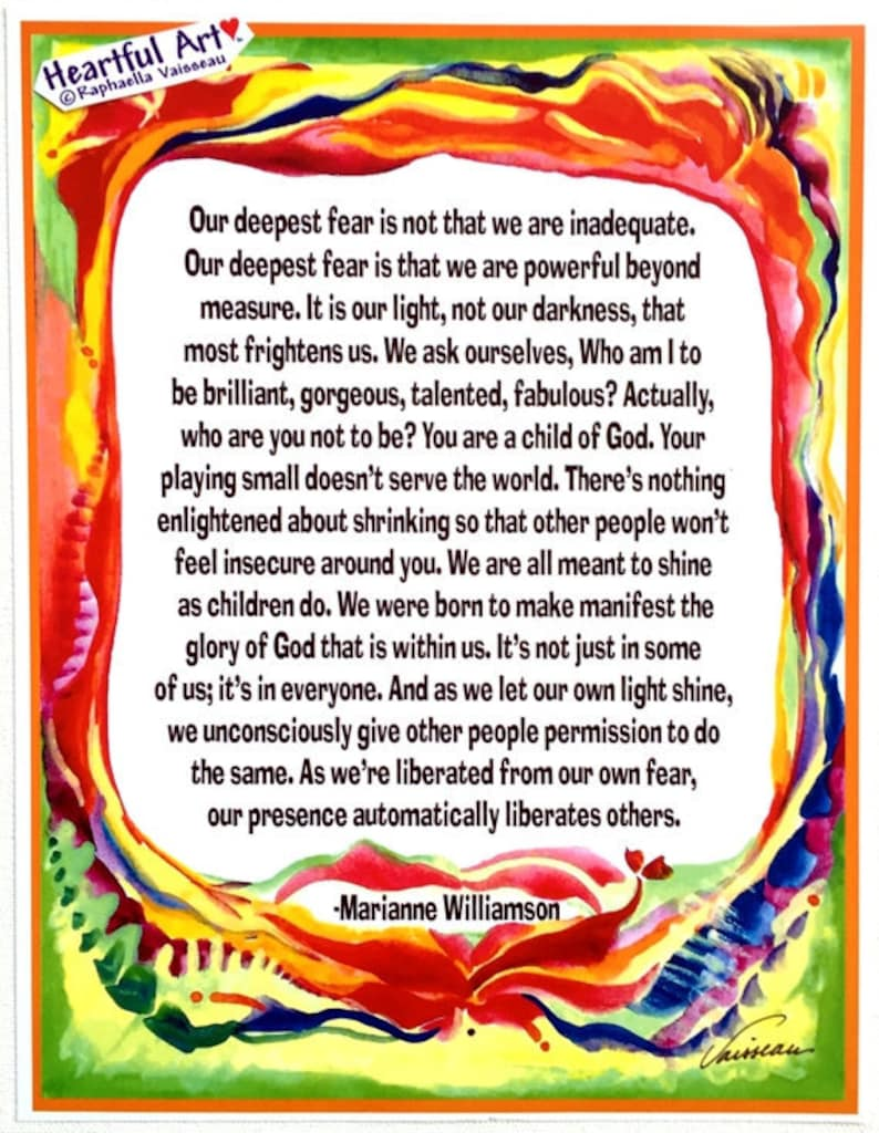 Our Deepest Fear 8x11 Marianne Williamson Quote Poster Etsy