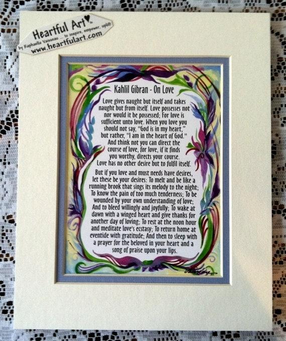 Sur Amour Khalil Gibran Citation Fiançailles Mariage Anniversaire Cadeau Mariage Famille Home Decor Art Heartful Par Raphaella Vaisseau