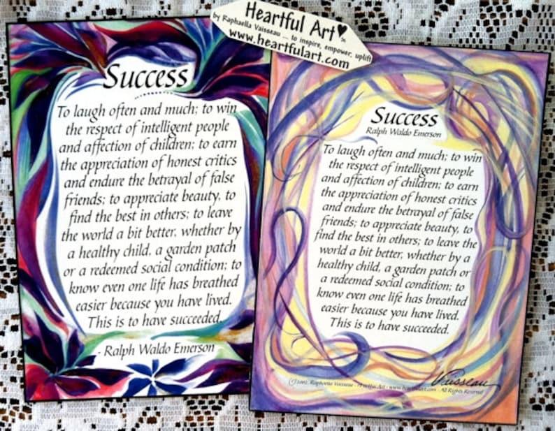 Success 5x7 Emerson Poster Motivational Print Retirement Life Etsy
