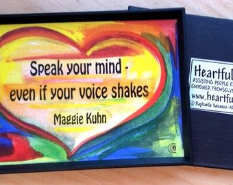 Speak Your Mind Inspirational Quote Motivational Print Maggie Kuhn Activist Office Decor Women Sayings Heartful Art by Raphaella Vaisseau