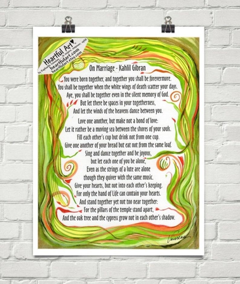Matrimonio 8 X 11 Kahlil Gibran Pieno Dispirazione Etsy