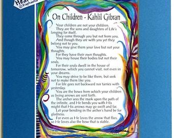 ON CHILDREN 8x10 Kahlil GIBRAN Prophet Inspirational Quote Baby Nursery Parenting Motivation Family Gift Heartful Art by Raphaella Vaisseau