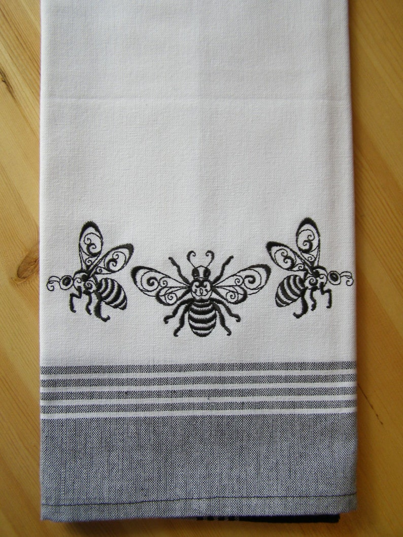 Bee Trio Border Kitchen Towel image 0