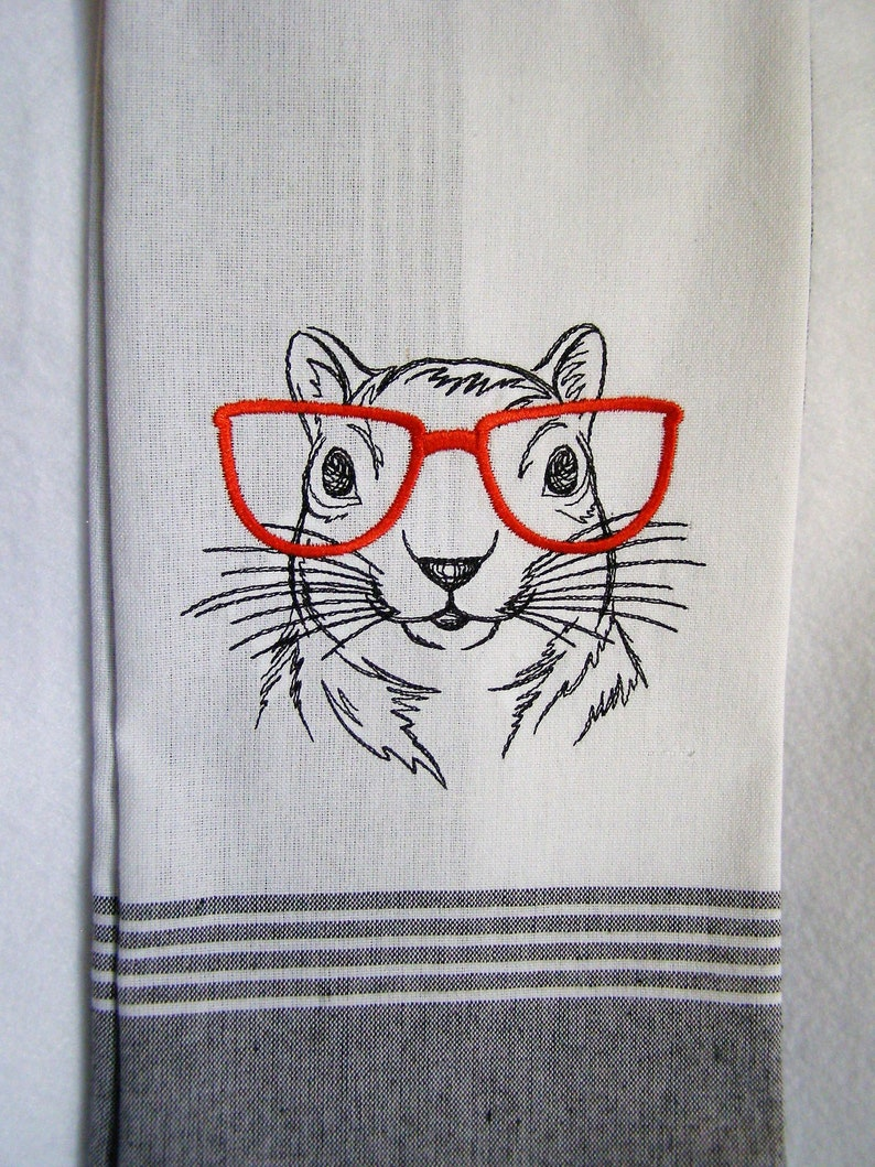 Squirrel with Glasses Kitchen Towel image 0