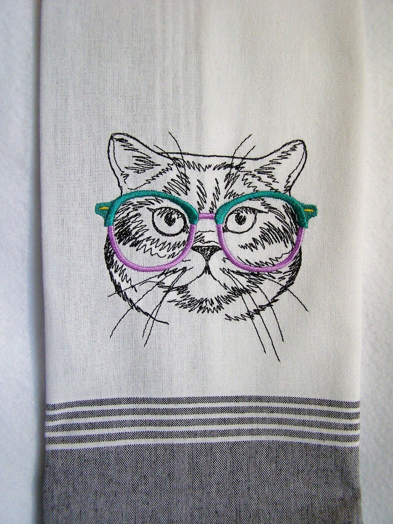 Cat with Glasses Kitchen Towel image 0