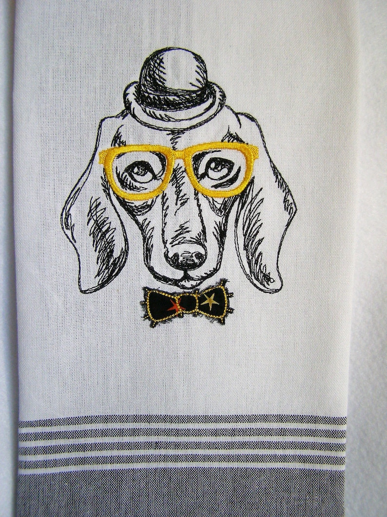 Dachshund Doxie with Glasses Kitchen Towel image 0