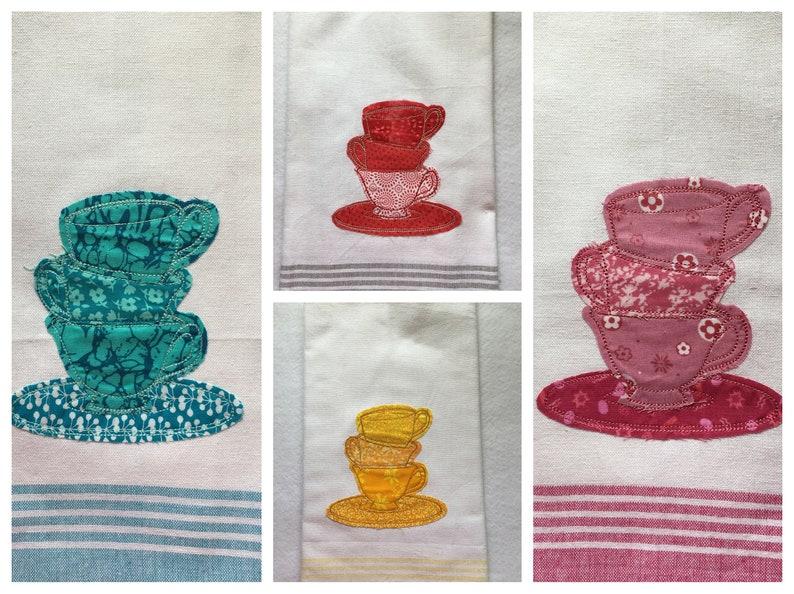 Tea Cups Appliqued Kitchen Towel image 0