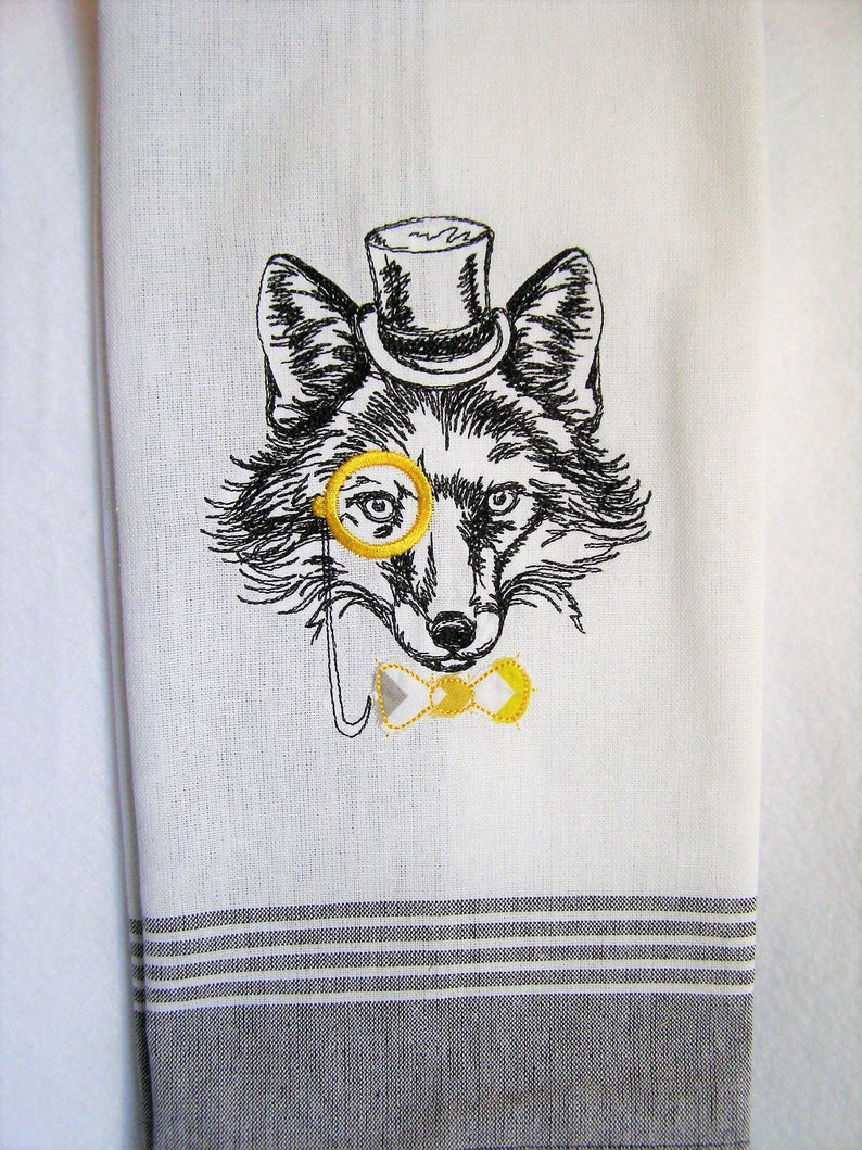 Fox with Monocle Kitchen Towel image 0